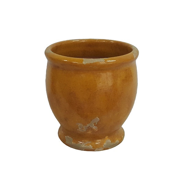 Distressed Mustard Footed Round pot