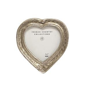 Antique Mini Silver Heart Frame 3x3""