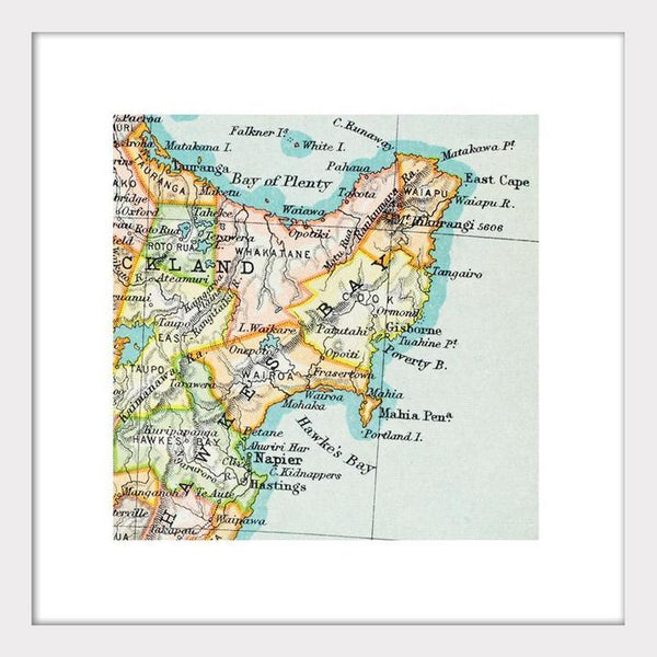East Cape Vintage Map - Matted