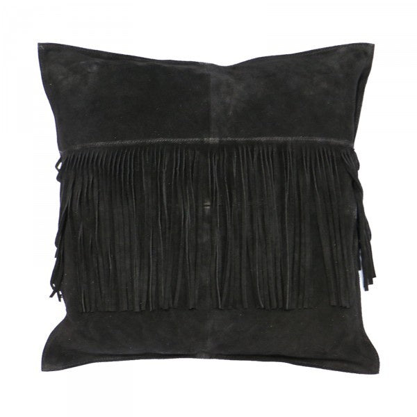 Suede Fringed Cushion Black