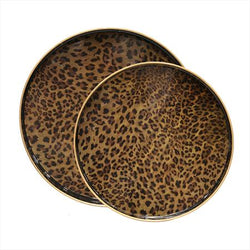 Round Leopard Print Tray Large