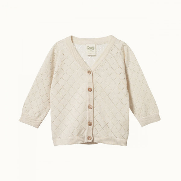 Light Cotton Knit Cardigan Natural Diamond Knit