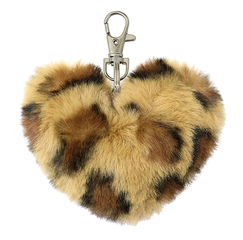 Fluffy Heart Keychain Dark Leopard