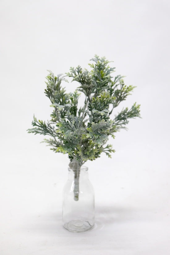 Flocked Dusty Miller Bush