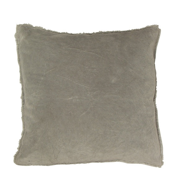 Soft Grey Frayed Velvet Cushion 50cm
