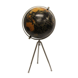 Large Black Globe on Stem Tripod Stand