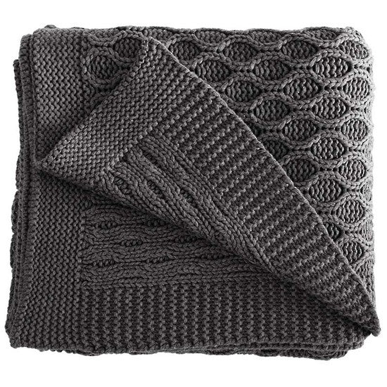 Annaliese Cotton Throw Dark Grey