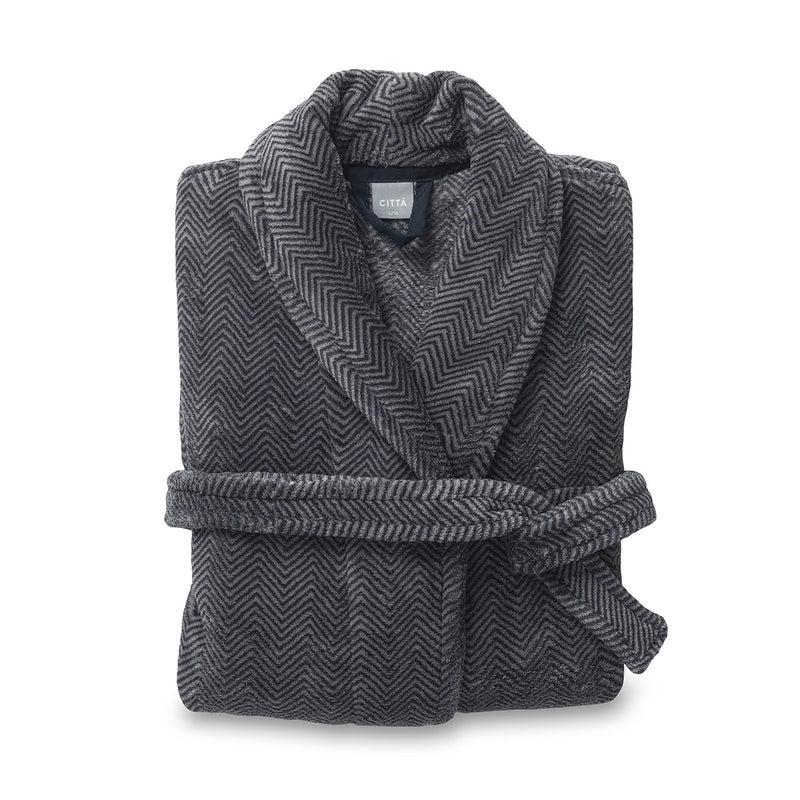 Herringbone II Men's Raschel Dressing Gown Navy/Stone L/XL