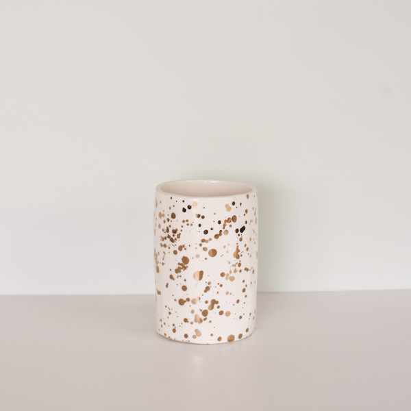 Splatter Utensil Holder Gold/White