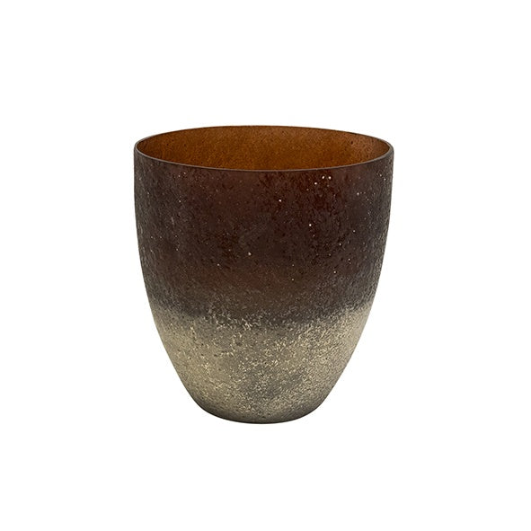 Large Amber Frosted Votive