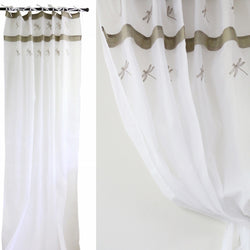White Voile Curtain w Dragon   flies1.4m Wx 3m L