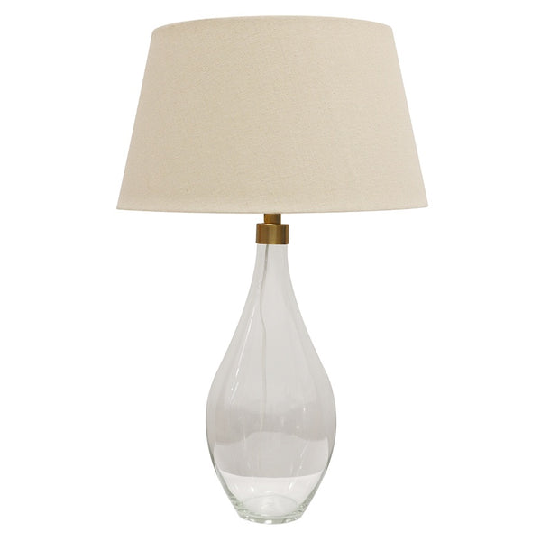 Glass Lampbase with Tapered Drum Shade
