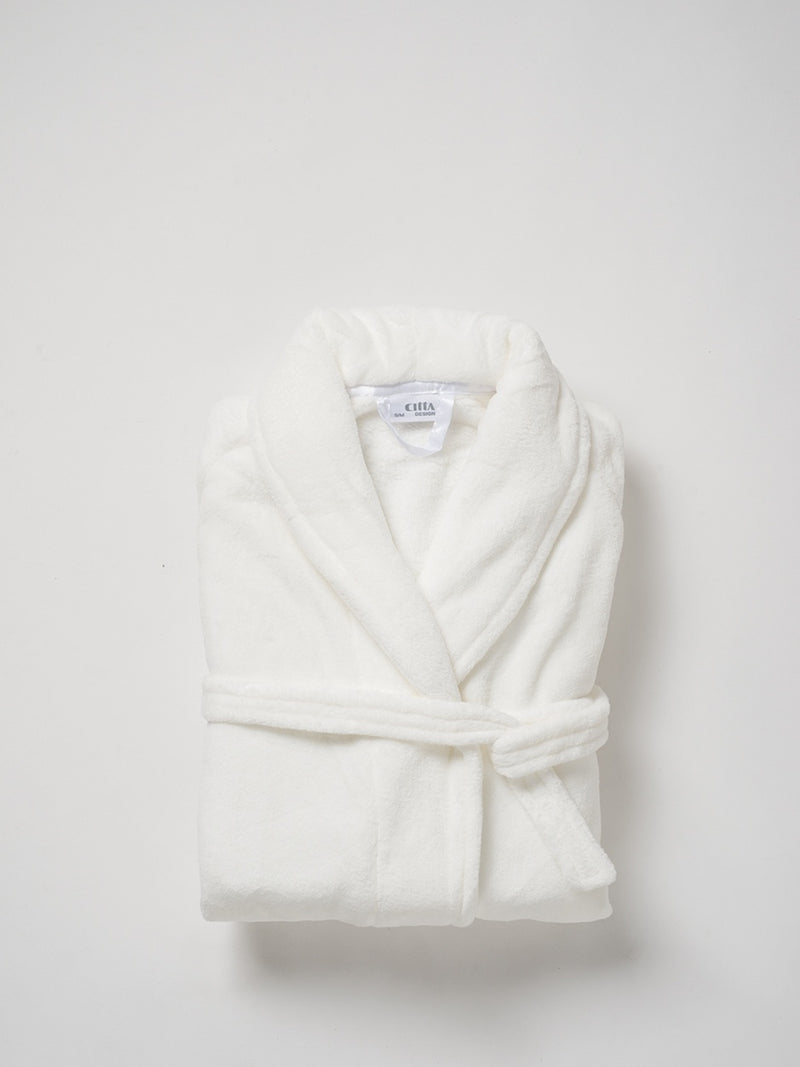 Plain Women's Raschel Dressing Gown White S