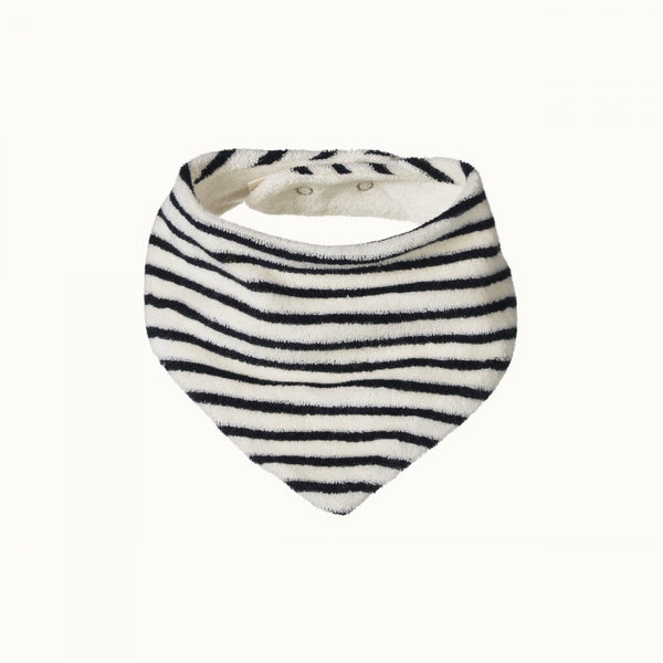Terry Triangle Bib Navy Stripe 0-6M