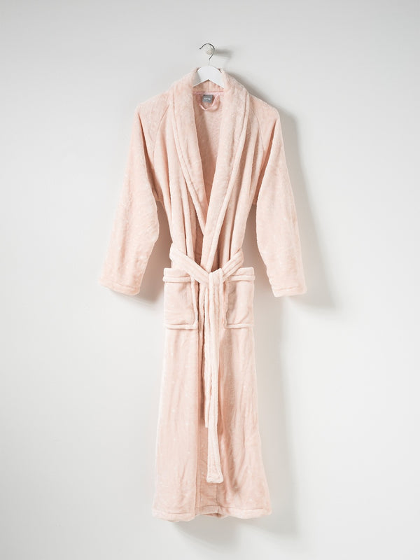Spot Women's Velour Dressing Gown Peony/White L