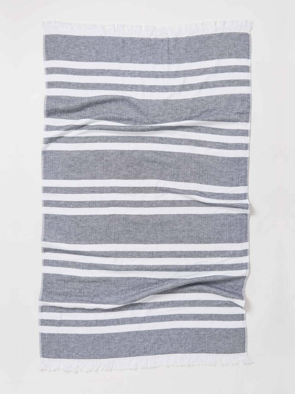 Marine Stripe Towel Black