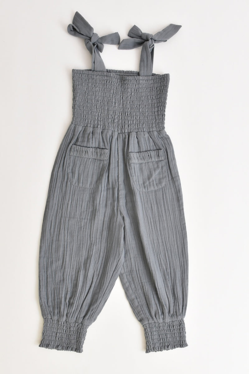 Girls Muslin Jumpsuit Grey
