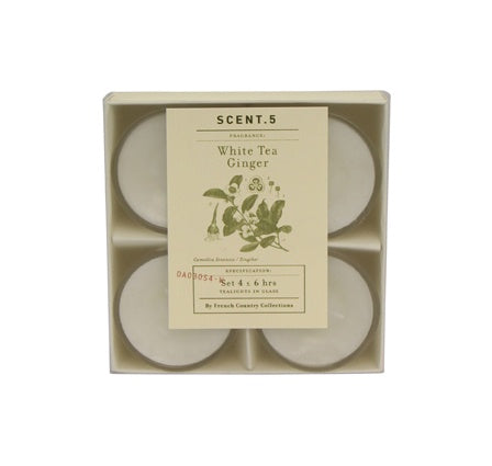 S/4 Glass Tealight White Tea Ginger