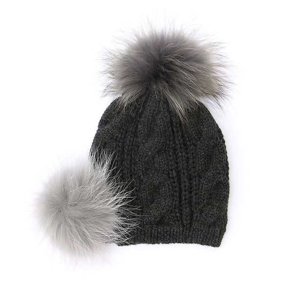 Fluffy Pompom Hat Charcoal