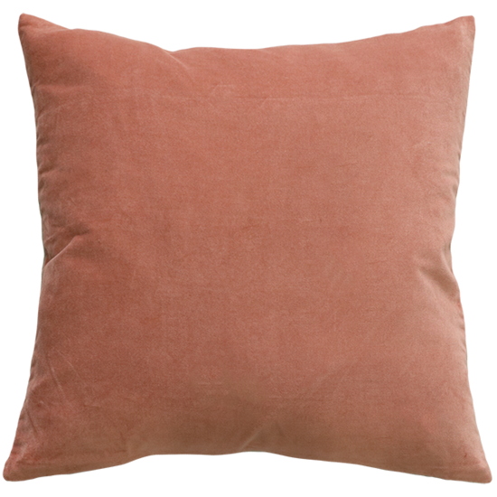 Majestic Velvet/Linen Cushion with Feather Inner - Muted Coral