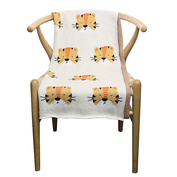 Cotton Tiger Face Throw Natural 80x100cm