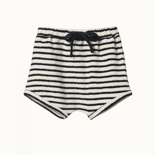 Natural Cotton Terry Short Navy Stripe 6-12M