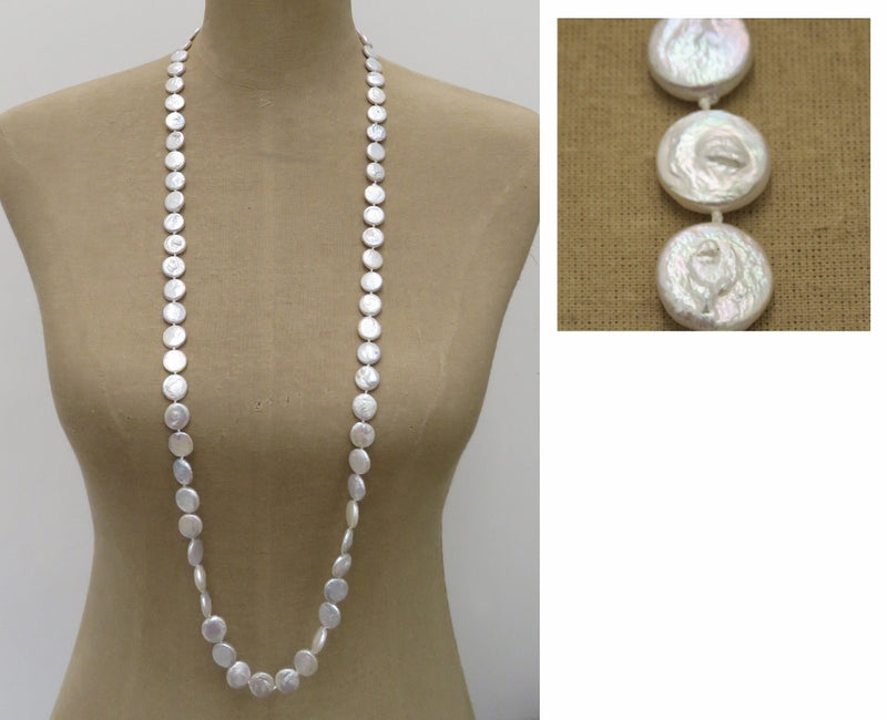 Coin Shape White Pearl Necklace