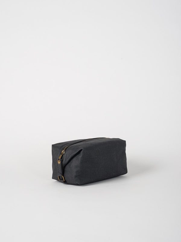 Cadet Waxed Canvas Wash Bag Black