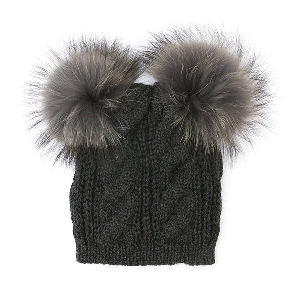 Double Fluffy Pompom Hat Charcoal