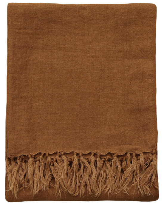 Indira Linen Throw - Tobacco