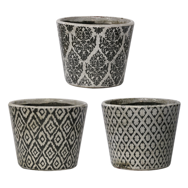 Black & White Vintage Patterned Planter