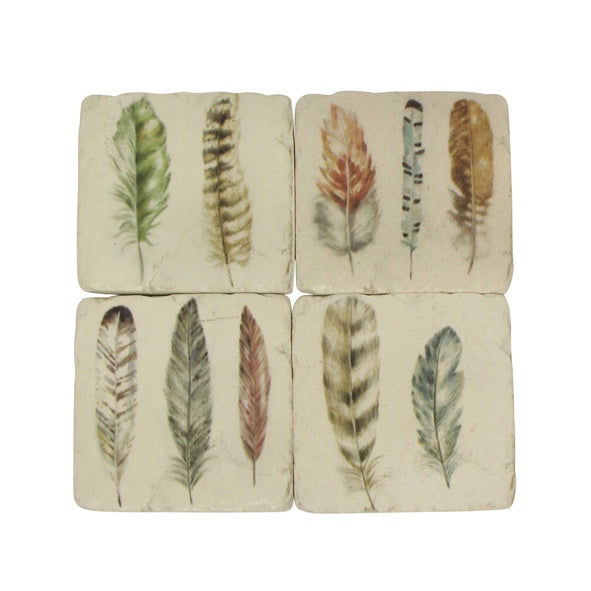 Feather Resin Coasters Set/4