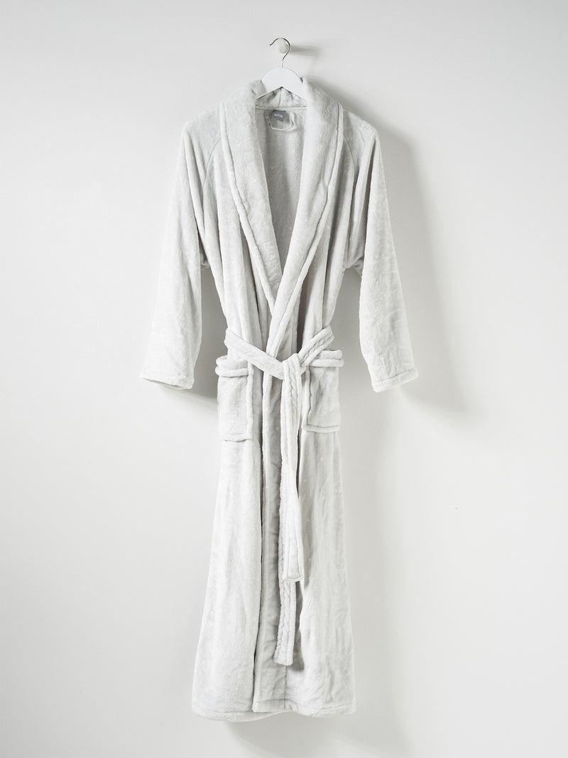 Spot Women's Velour Dressing Gown Dove Tint/White M