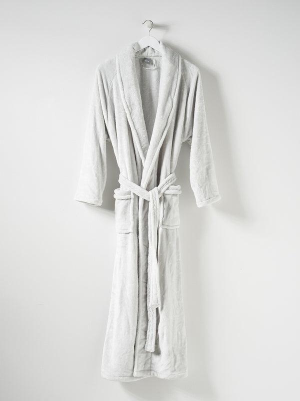 Spot Women's Velour Dressing Gown Dove Tint/White L