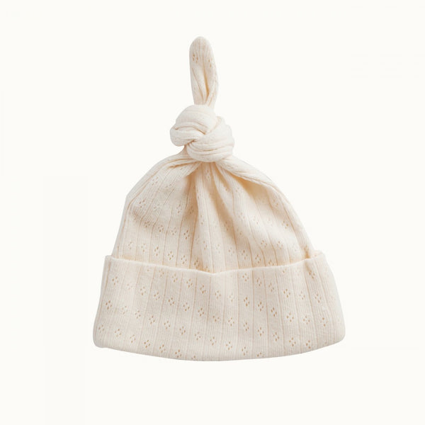 Knotted Beanie Pointelle Natural
