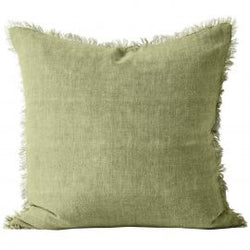 Aura Vintage Linen Fringed Cushion Willow 50cm
