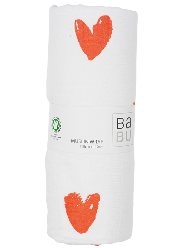 Muslin Wrap Heart Orange