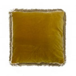 Fringed Velvet Cushion Rust 45cm
