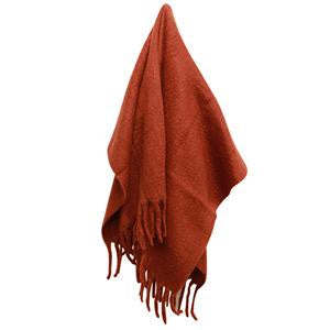 Solid Fringed Rust Throw