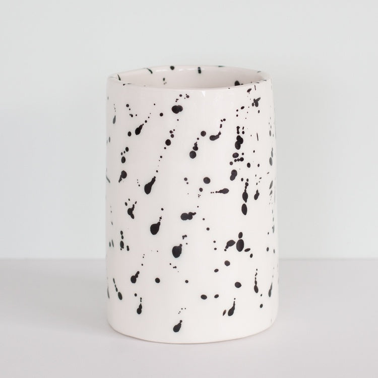 Splatter Large Vase Black/White