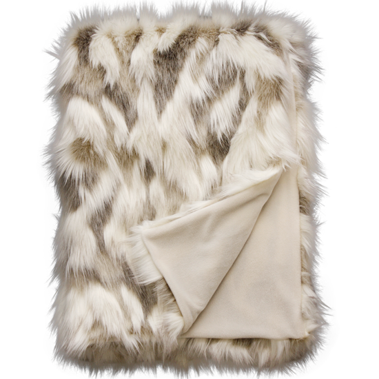 Heirloom Faux Fur Throw - Snowshoe Hare