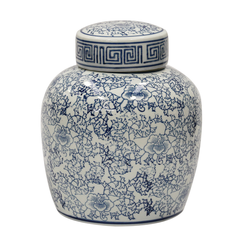 Ginger Jar - Medium Blue & White