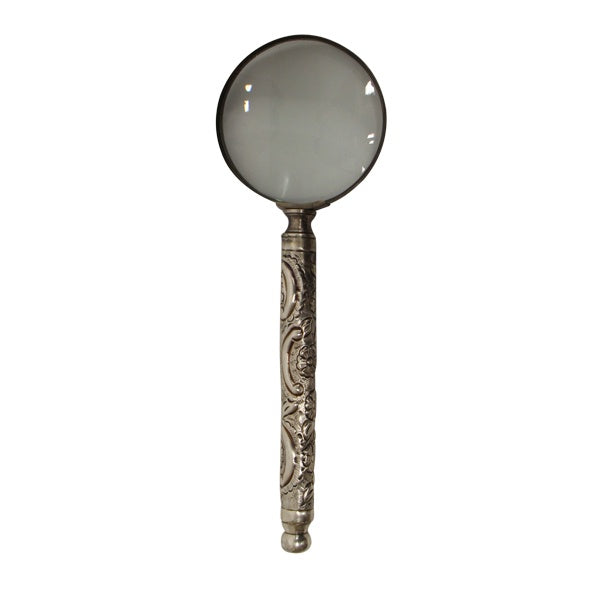 Embossed Antique Silver Magnifying Glass