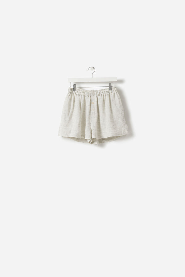 Pinstripe Linen Shorts Pepper/Chalk