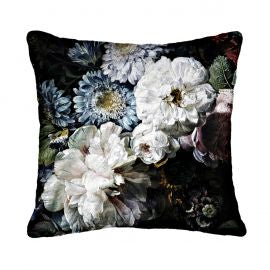 Blooming White Square Cushion