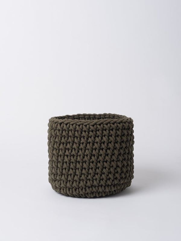 Knitted Storage Basket Seaweed L