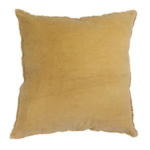 Mustard Yellow Frayed Velvet Cushion 50cm