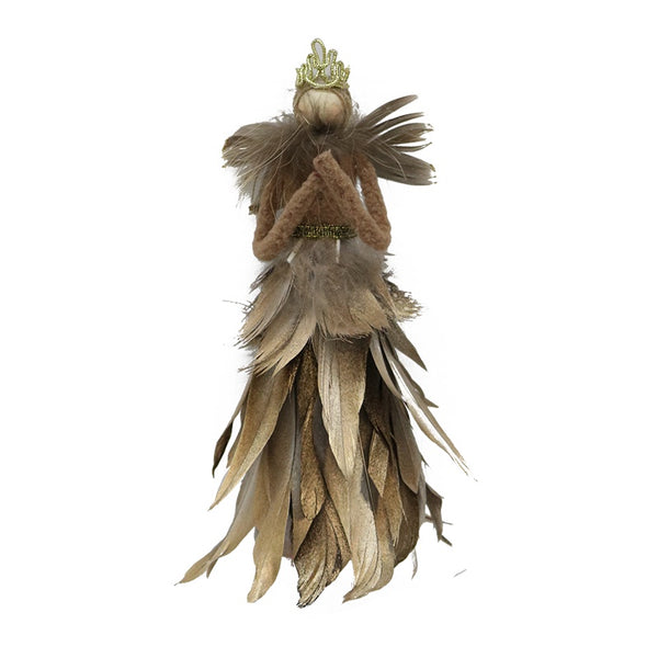 Standing Feather Angel Gold Medium