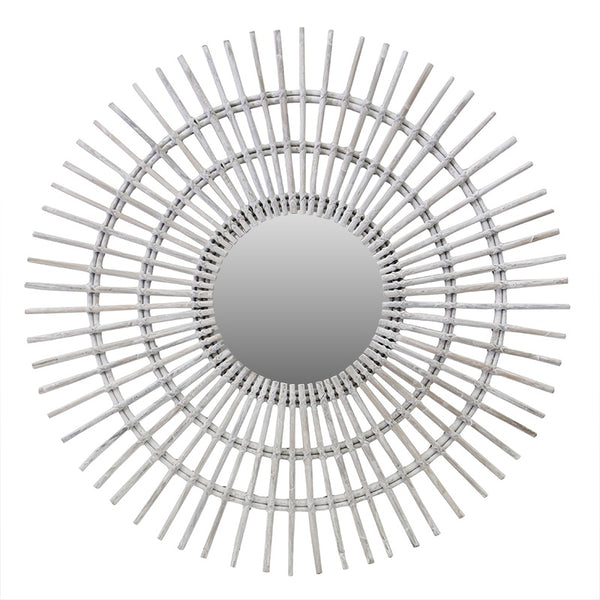 Rattan Sun Mirror White Wash 100cm