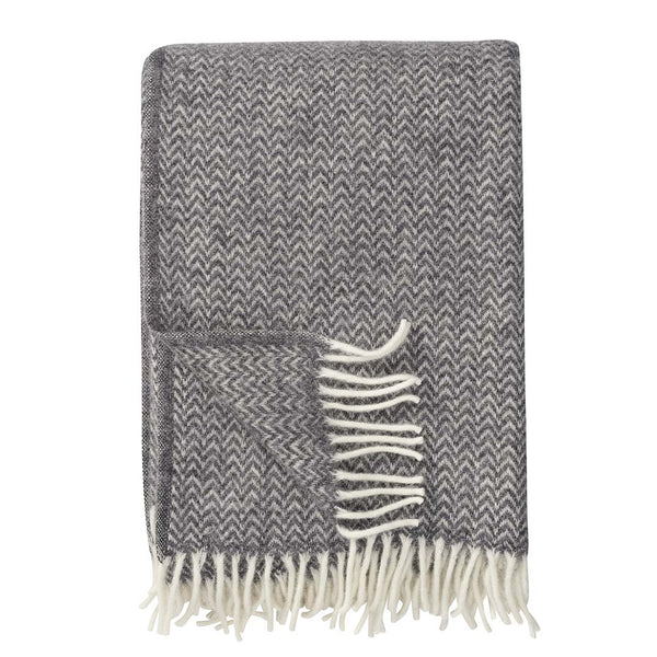 Throw 100% Lambs Wool - Chevron Grey